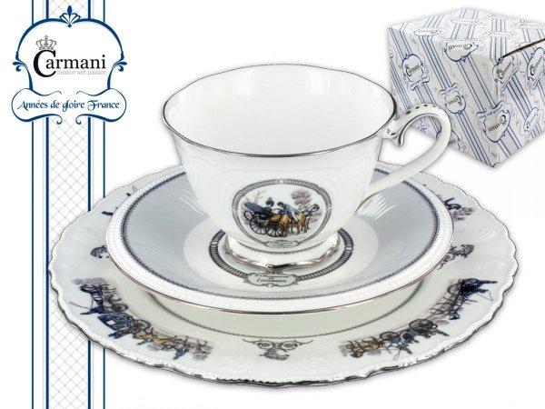 Zestaw filiżanka+spodek+talerzyk - CARMANI