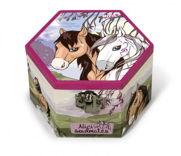 Szkatułka z lusterkiem koń biały i brązowy - NICI