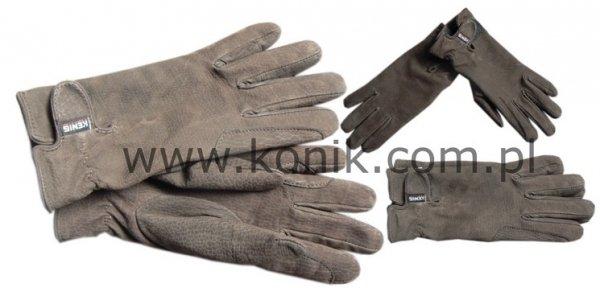 Rękawiczki skórzane ocieplane polarem KENIG ciemny brąz