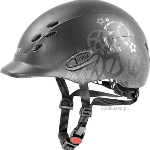 Kask UVEX model ONYX PEACE dziecięcy - black mat/silver