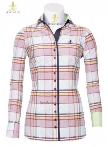 Koszula damska JETTA I - FIOR DA LISO - różowa kratka