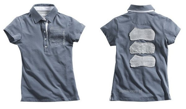 Koszulka bawełniana damska polo china blue - Equi-Theme