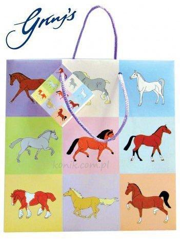 Torebka na prezenty PASTEL HORSE mała - GRAY'S