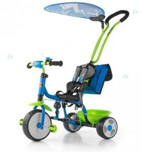 Rowerek trójkołowy BOBY DELUXE niebiesko-zielony - nowoczesny design