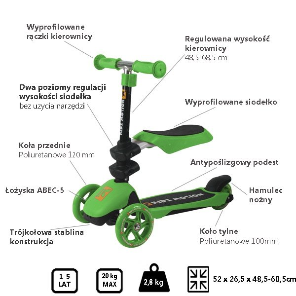 Hulajnoga 3in1 Motion zielona