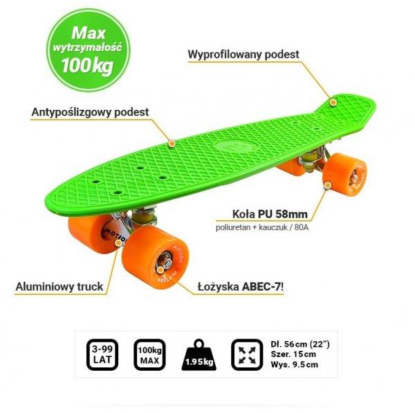 Deskorolka Fiszka 56cm - Deckboard 103 zielony