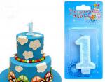 Świeczka urodzinowa  1   z błękitnym brokatem