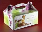 Pudełko na ciasto komunijne z bordowym kwiatemPK08