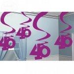 Dekoracja wisząca 40 URODZINY - Fioletowe 5 szt