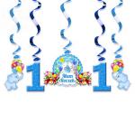 Świderki urodzinowe błekitne na roczek 1 kpl