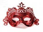 Maska Party z ornamentem  - czerwona 1szt