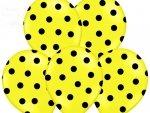 Balony 14cali pastel żółte w czarne kropki 1szt
