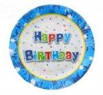 Talerzyki urodzinowe  Happy Brithday niebieskie