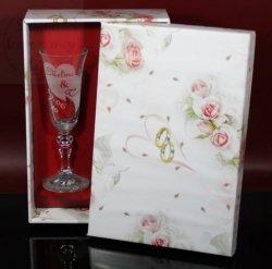 Kieliszki do szampana z grawerem na ślub + kolorowym pudełku