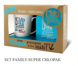 Kubek Set Family  Super Chłopak + podstawka