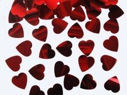 Konfetti metalizowane czerwone serca 25mm KONS33