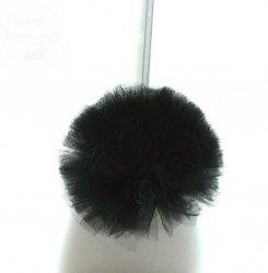 Pompon tiulowy średni czarny 15 cm