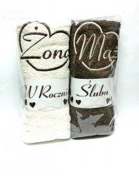 Ręczniki z haftem Żona Mąż na Rocznicę ślubu