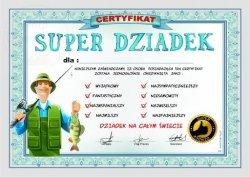 Certyfikat, dyplom dla SUPER DZIADEK  RYBA