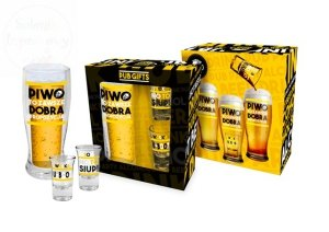 Zestaw PUB szklanka do piwa + 2 kieliszki