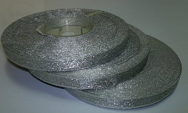 Tasiemka brokatowa srebrna 25 m Szerokość 10mm