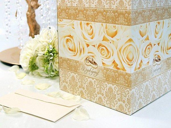 Pudełko na koperty, telegramy, złote PUDT1