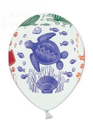 Balony 14 cali białe pastelowe Podwodny świat 1szt