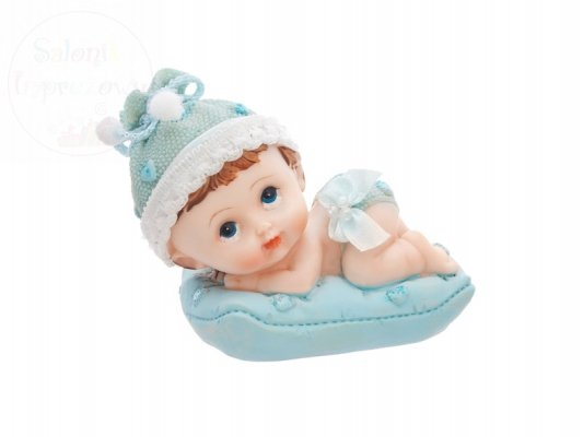 Figurka na tort chłopiec z niebieską poduszką DF5C