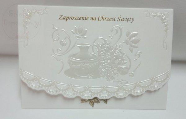 Zaproszenie perłowe na Chrzest Święty 1szt