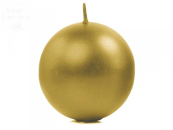 """Świeca """"Kula"""" metalik, złota 8cm. SKUMET80-019"""