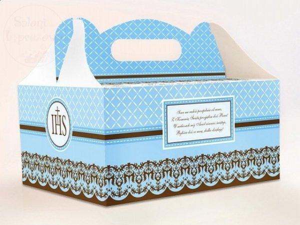 Pudełko na ciasto komunijne błękitne PUDCS6/B