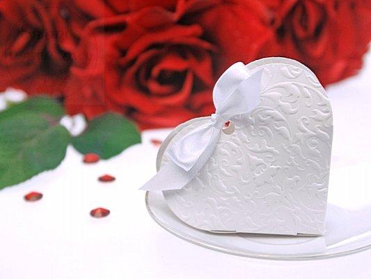 Pudełeczka dla gości serduszko białe 10 szt PUDP10