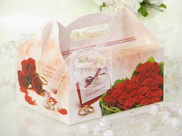 """Pudełko na ciasto weselne Czerwone róże"""" CS04"""