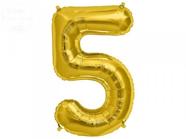 """Balon Foliowy 34 Cyfra """" 5"""" złota"""