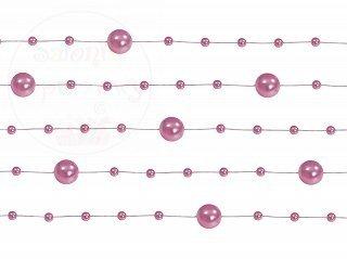 Girlanda perłowa kolor różowy 1,3m 5szt