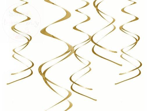 Dekoracja wiszące świderki - złote 5szt