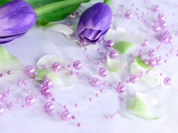 Girlanda perłowa kolor wrzos 1,3m 5szt