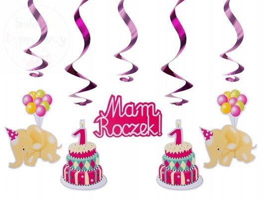 Świderki urodzinowe różowe 60 cm