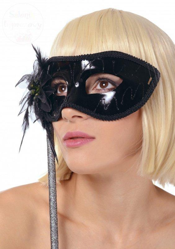Maska czarna na patyku 1 sz