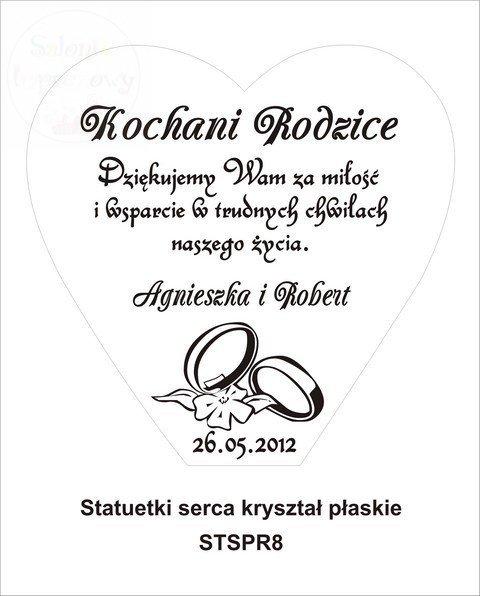 Statuetka Serce Kryształ podziękowania ślubne, prezent dla rodziców