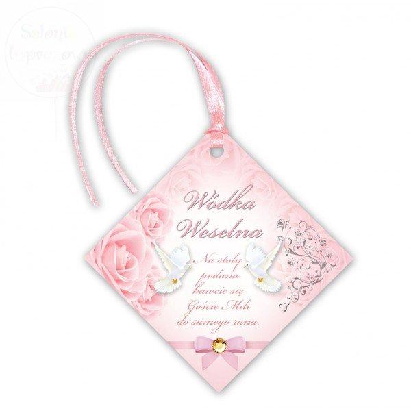 Zawieszki na wódkę weselną z różową tasiemką 20sz
