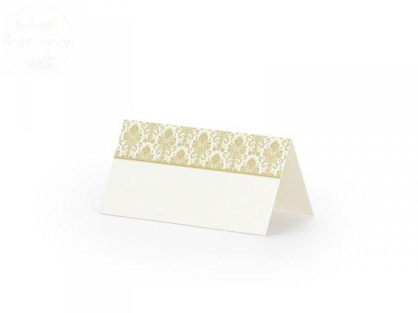 Wizytówki na stół ze złotym ornamentem 25szt WS43
