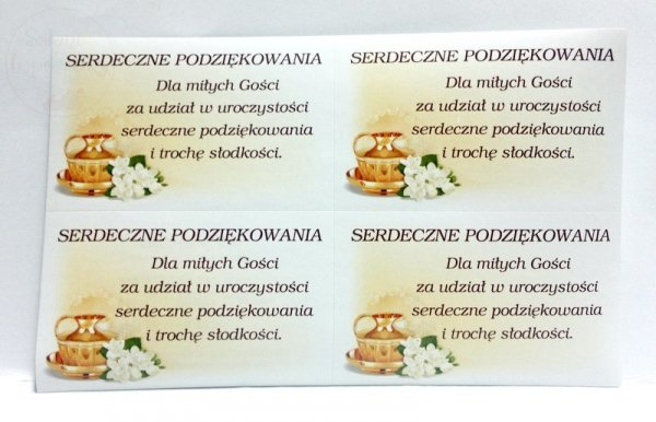 Naklejki Chrztu Świętego na ciasto Podziękowanie