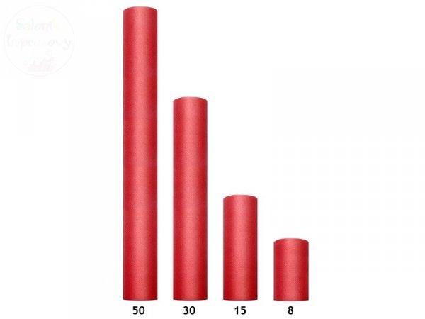 Tiul na szpulce 50cmx9m czerwony