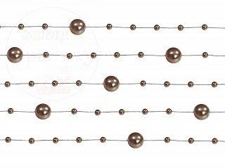 Girlanda perłowa kolor brązowy 1,3m 5szt