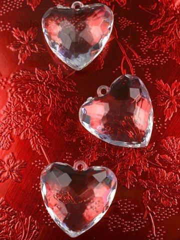 Zawieszka serce 4,5cm bezbarwne 1 szt