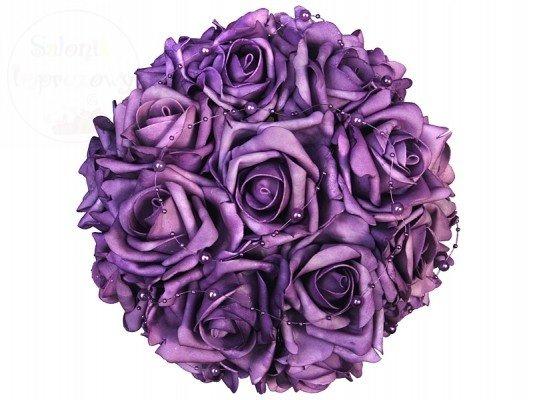 Bukiet kwiatowy z perełkami fioletowy BUKD-014