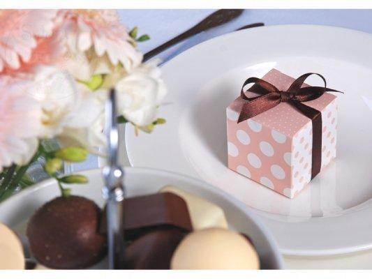 Pudełeczka dla gości różowe z brązową kokardką