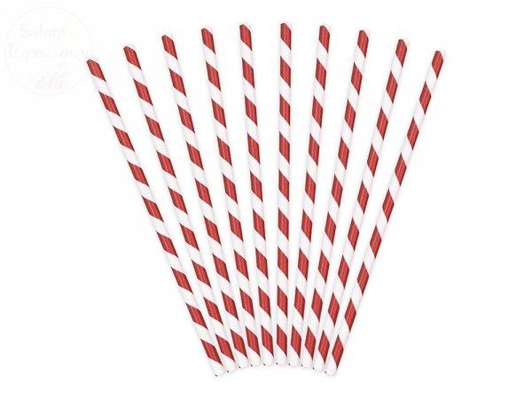 Słomki papierowe czerwone w paseczki 10 szt
