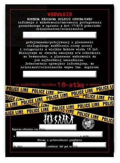 Zaproszenie, wezwanie na policję na 18-stkę 1szt
